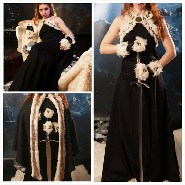 Game of Thrones Celtic Dress Viking Costume with Fur