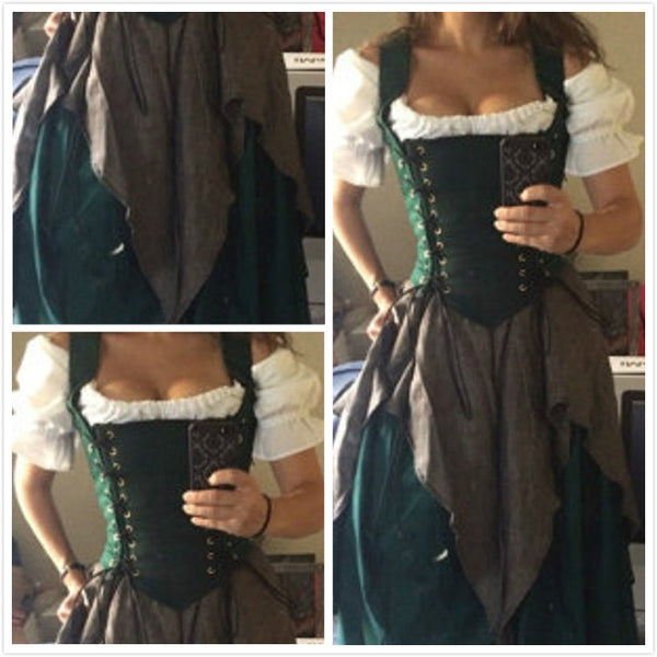 Green Renaissance Dress Witch Wench Gown costume