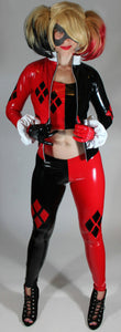 Harley Quinn Costume Leggings in Stretch Gloss Black and Red Vinyl PVC