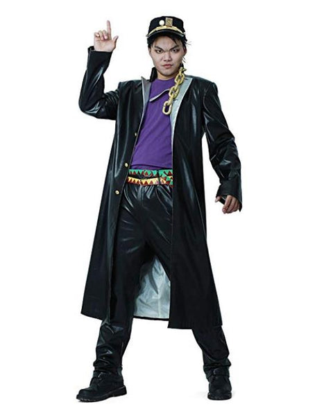 JoJo Costume Jotaro Kujo Leather Costume Adults with cap