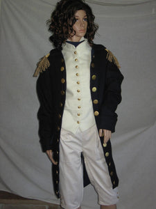 Master and Commander uniform Russell Crowe costume coat, vest, shirt with cravat, and breeches