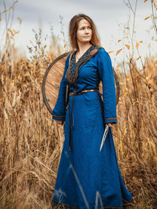 Medieval Blue Linen Dress Renaissance Dress Plus Size
