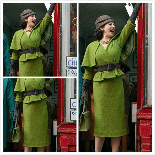 Mrs Maisel dress green top with cape pencil skirt