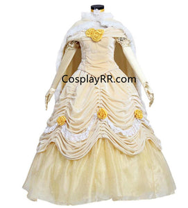 Princess Belle dress with fur cape plus size