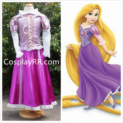 Princess Rapunzel dress cosplay costume for girl kids