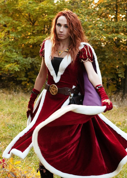 Princess Wizard dress cosplay costume Red medieval outfit with cloak and gloves