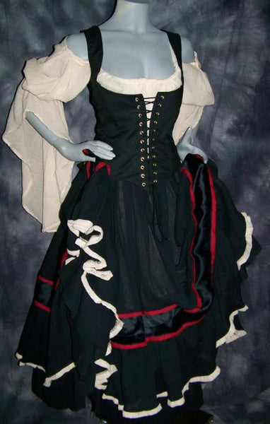 Renaissance Gypsy Dress Pirate Gown Wench Womens Costume