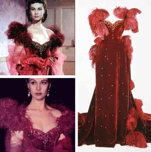 Vivien Leigh as Scarlett O'Hara Costume Red Dress Party Gown in Gone with the Wind