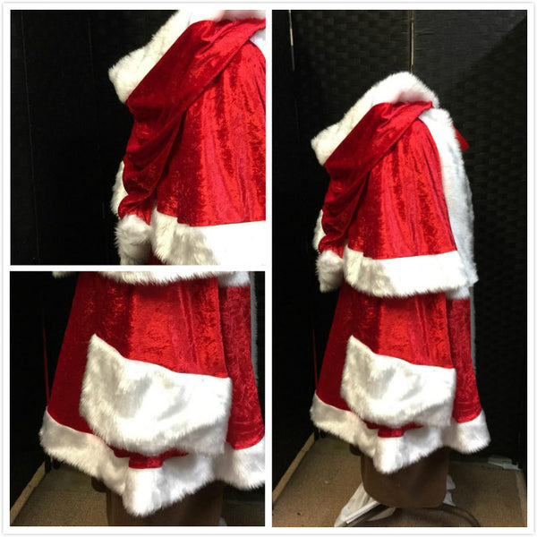 Velvet Santa Claus Father Christmas Costume with Red Velvet Trousers