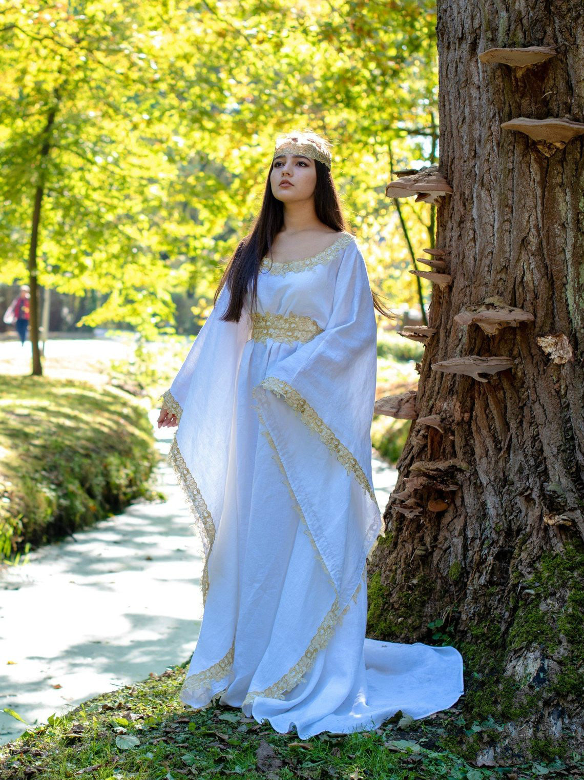 White Medieval Dress Celtic gown long sleeves renaissance costume for women