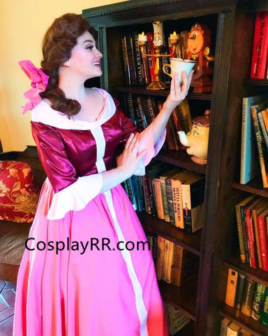 Belle Winter Dress Costume Pink Gown with Cape from Beauty and the Beast
