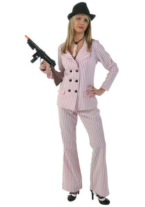 Womens Gangster costume female pinstripe suit outfit