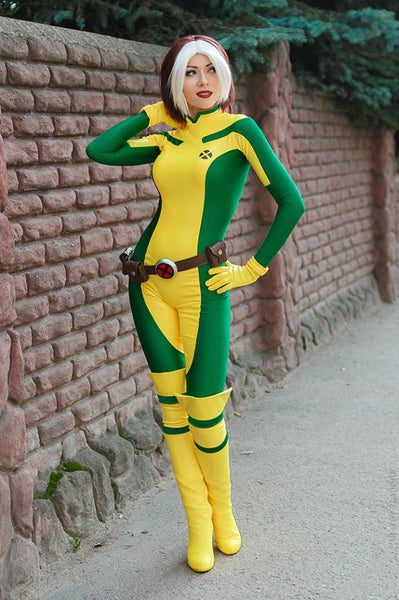 X men Rogue costume bodysuit cosplay outfit plus size with boots