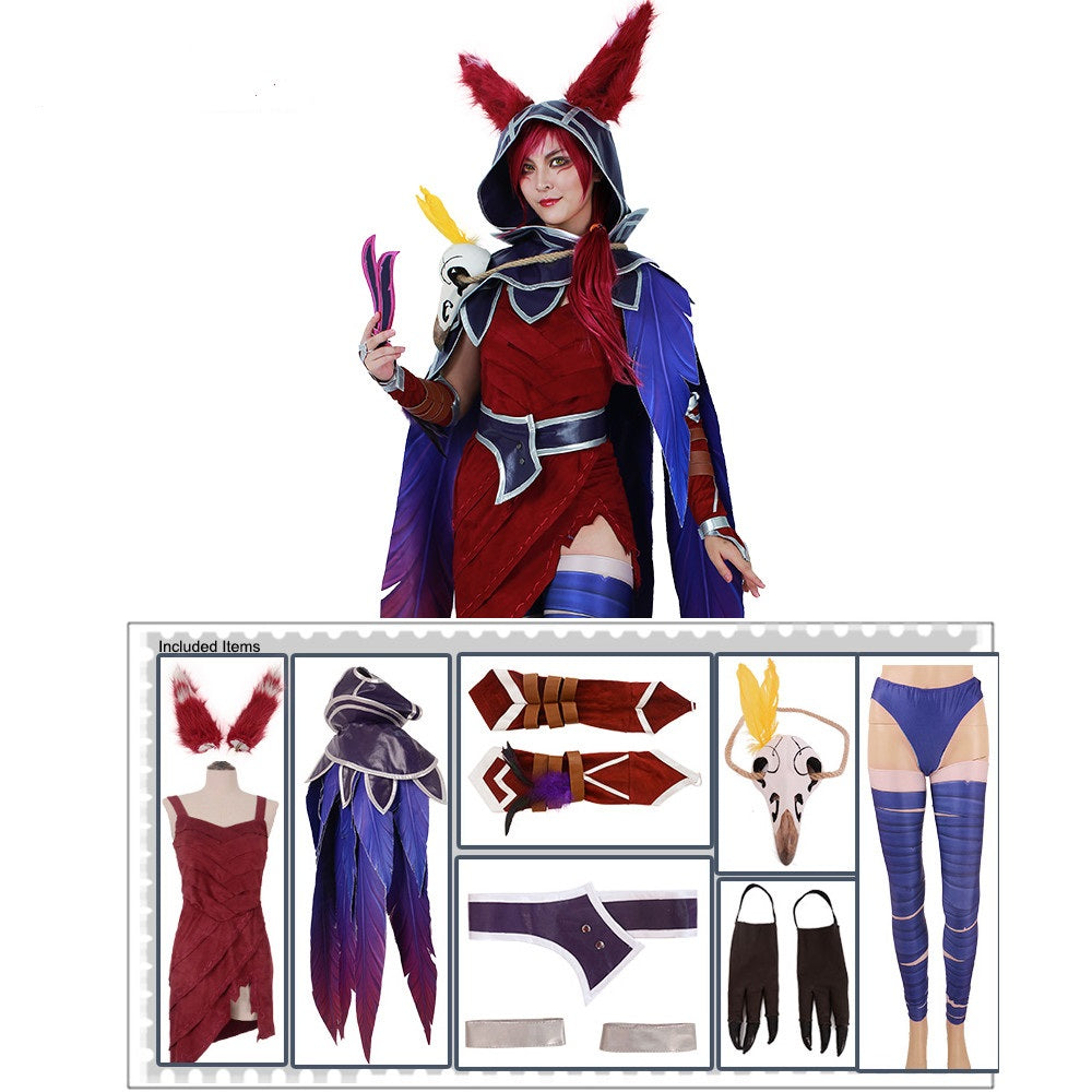 Xayah Costume Woman The Rebel Cosplay Halloween costume Outfit with Ears, Bird feet covers and Skull