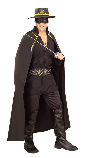 Zorro costume for male female with hat and cloak