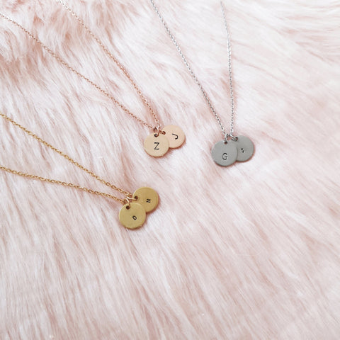 Double Initial Disc Necklace