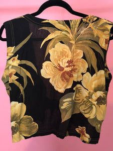 Floral Sleeveless Button-Up