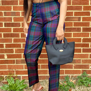 Silk Plaid Trousers