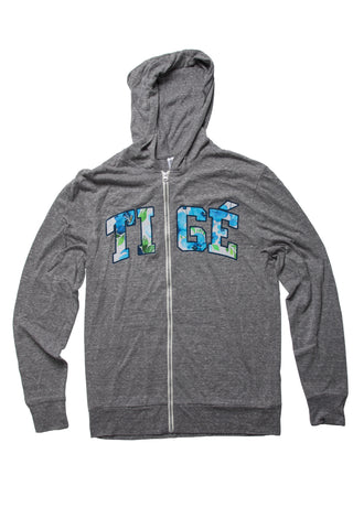 Ladies Hoodie Lightweight Gray Triblend - Tige Floral Blue