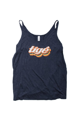 Ladies Tank Heather Navy -Tige Retro