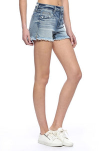 Halsey High Rise Fray Hem Shorts