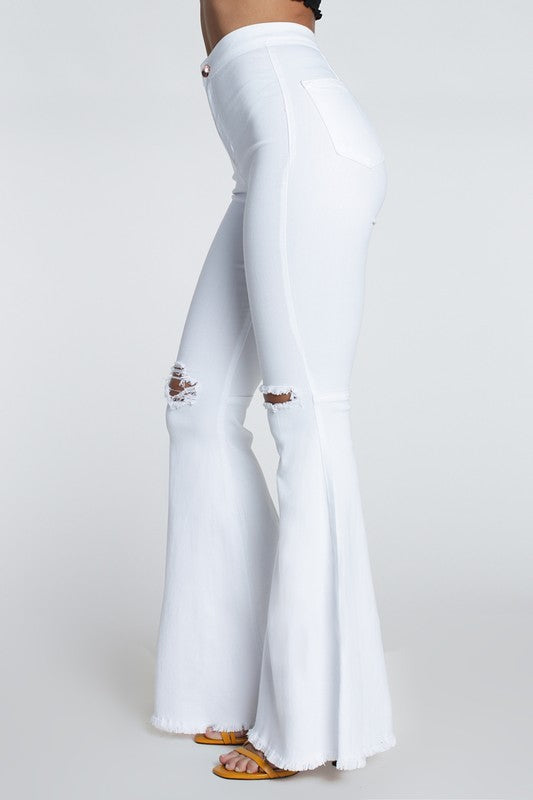 Farrah High Rise Distressed Bell Bottoms - White