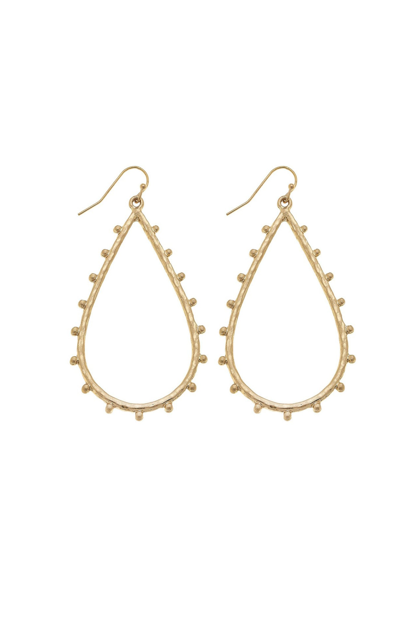 Hammered Teardrop Earrings - Gold
