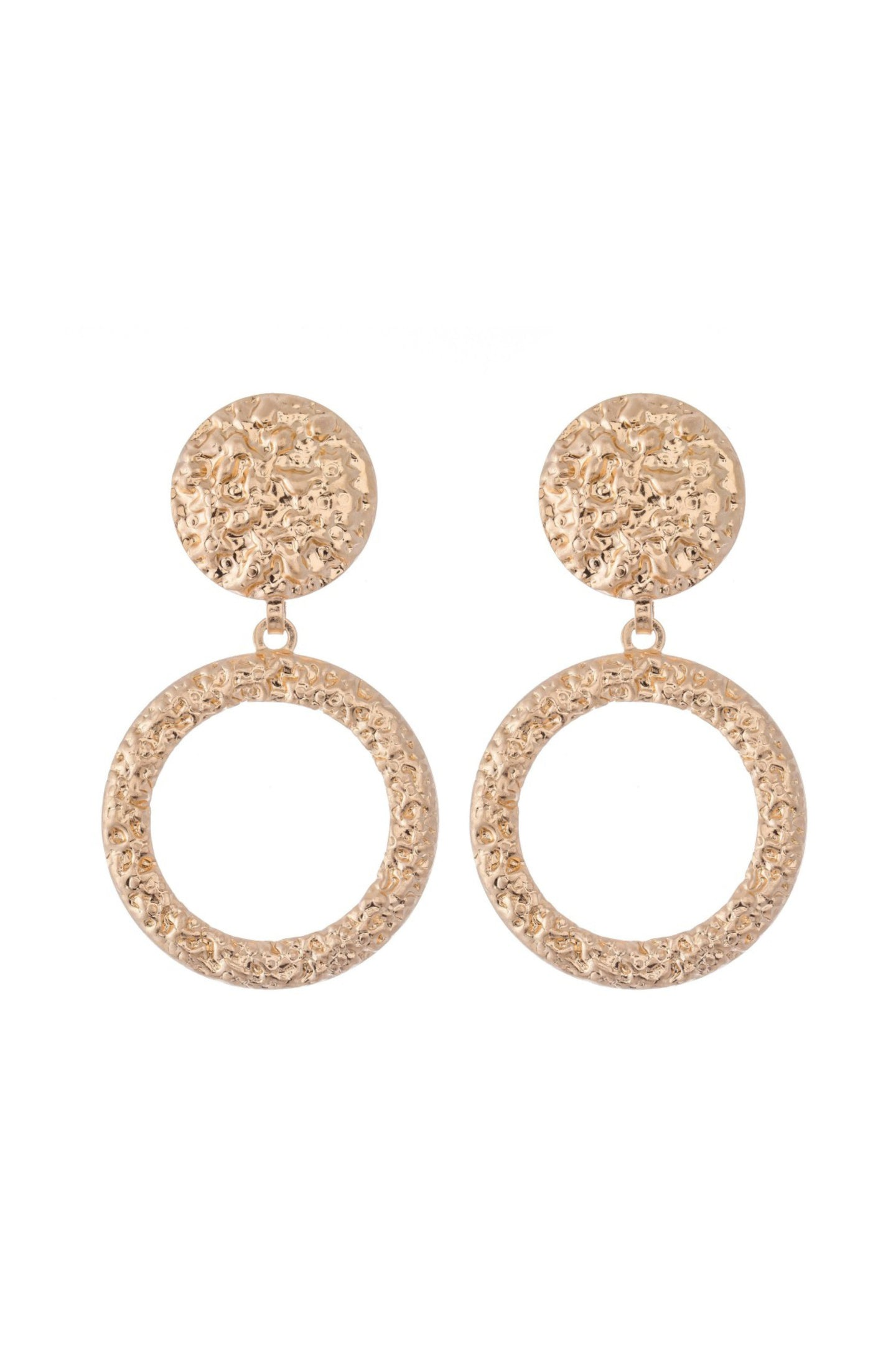Metal Textured Statement Earrings - Gold
