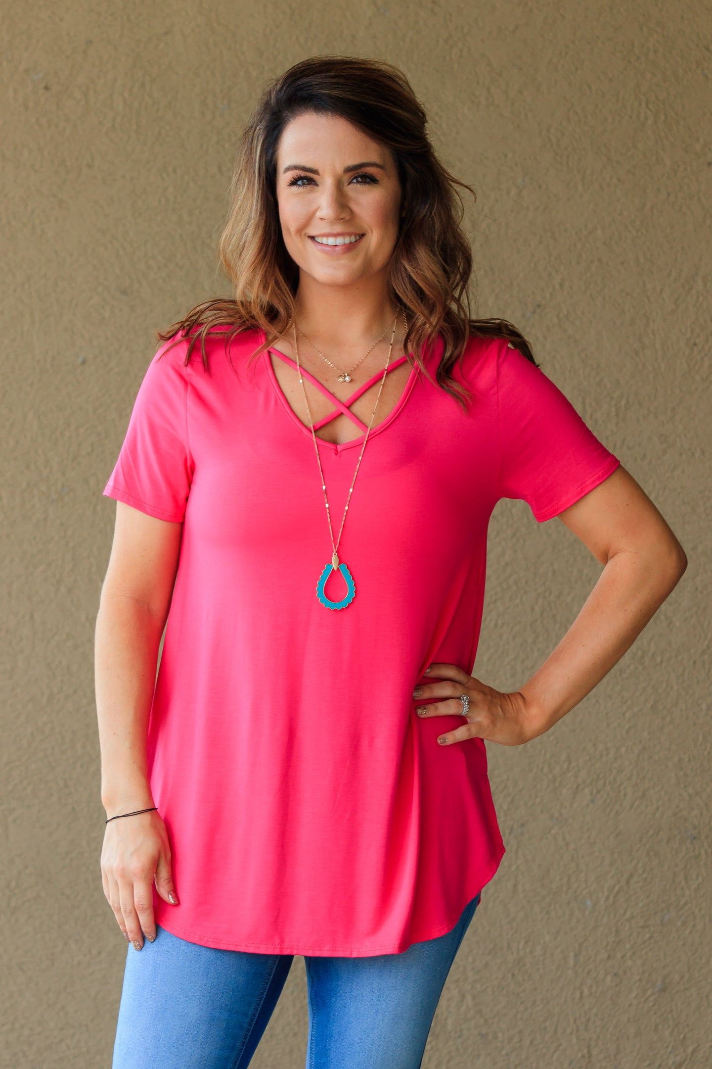Kriss Cross Top - Strawberry Pink