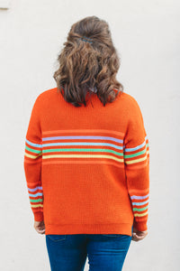 Layne Striped Sweater - Orange