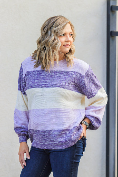 Edie Stripe Sweater - Lilac