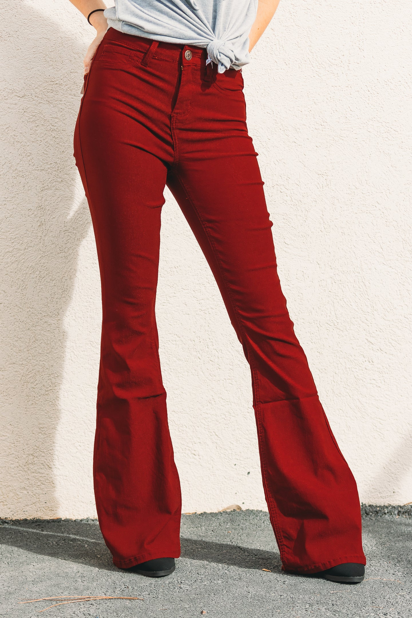 Valerie High Rise Flares - Burgundy