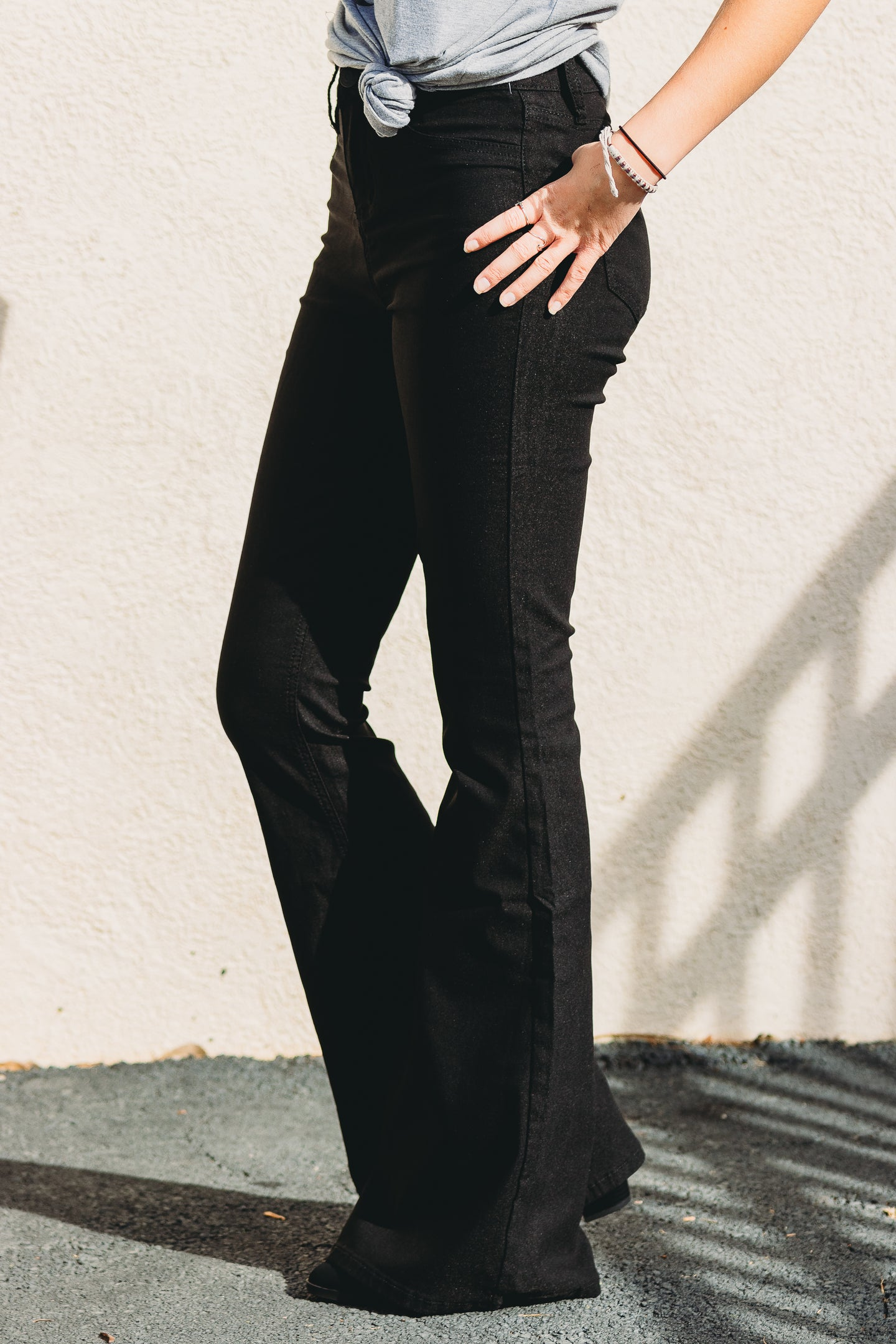 Valerie High Rise Flares - Black