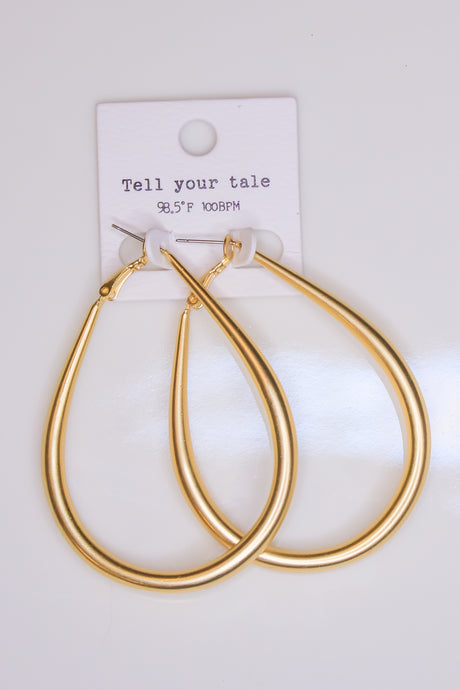 Teardrop Hoop Earring - Gold