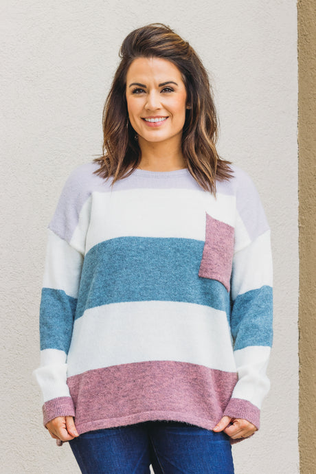 Zoe Stripe Sweater - Lavender