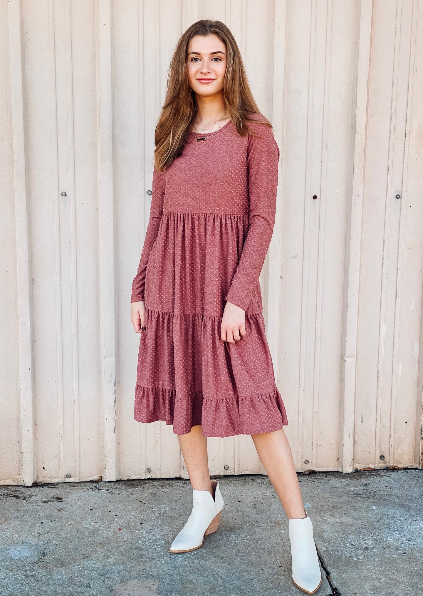 Makenna Midi Dress - Dark Mauve