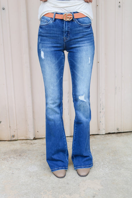 Bella High Rise Distressed Flare Jeans