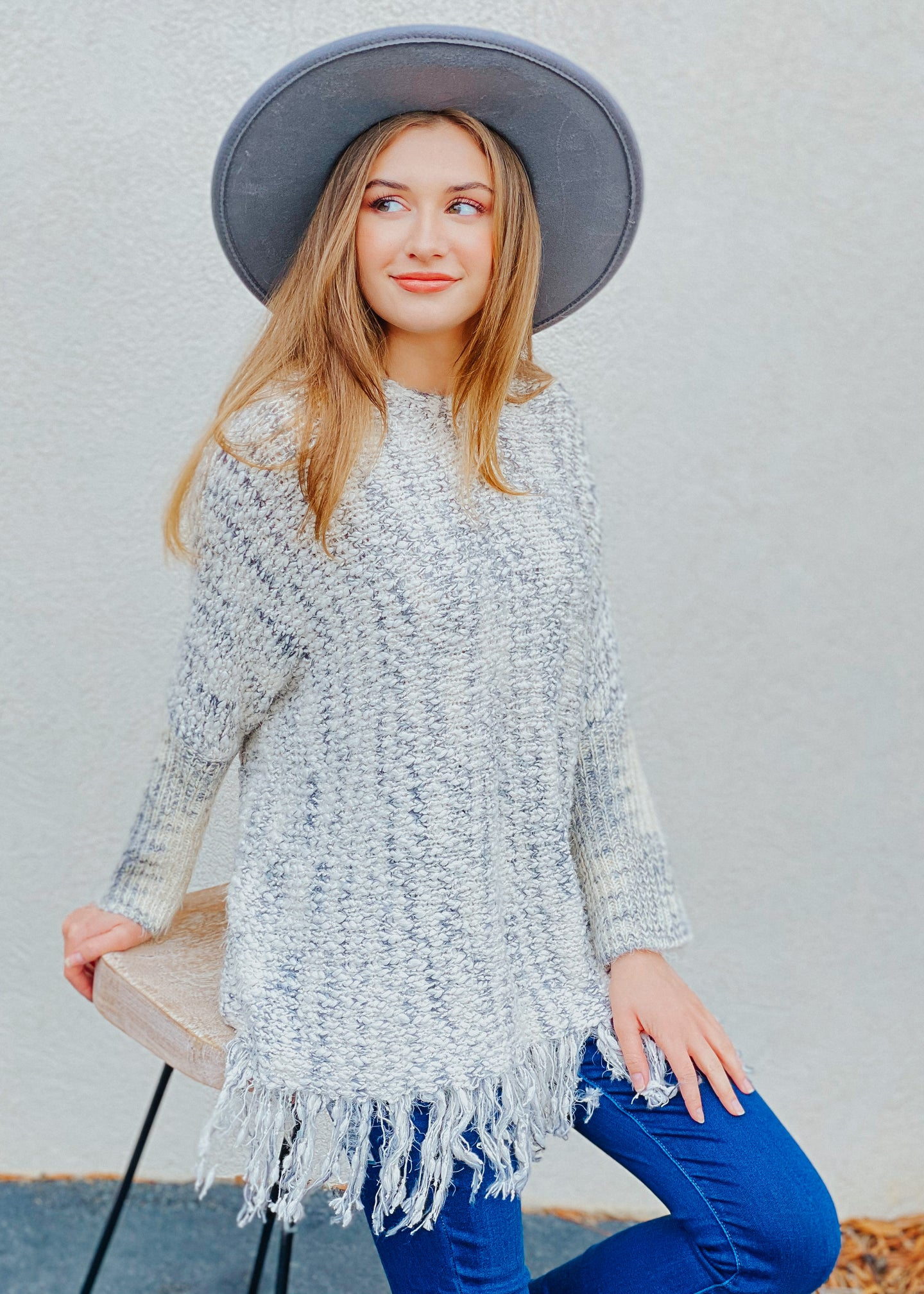 Mitzi Sweater Tunic - Navy/Off-White