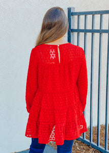 Charis Tiered Top - Red