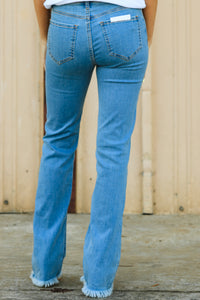 Brea Button Fly Flares - Light Wash