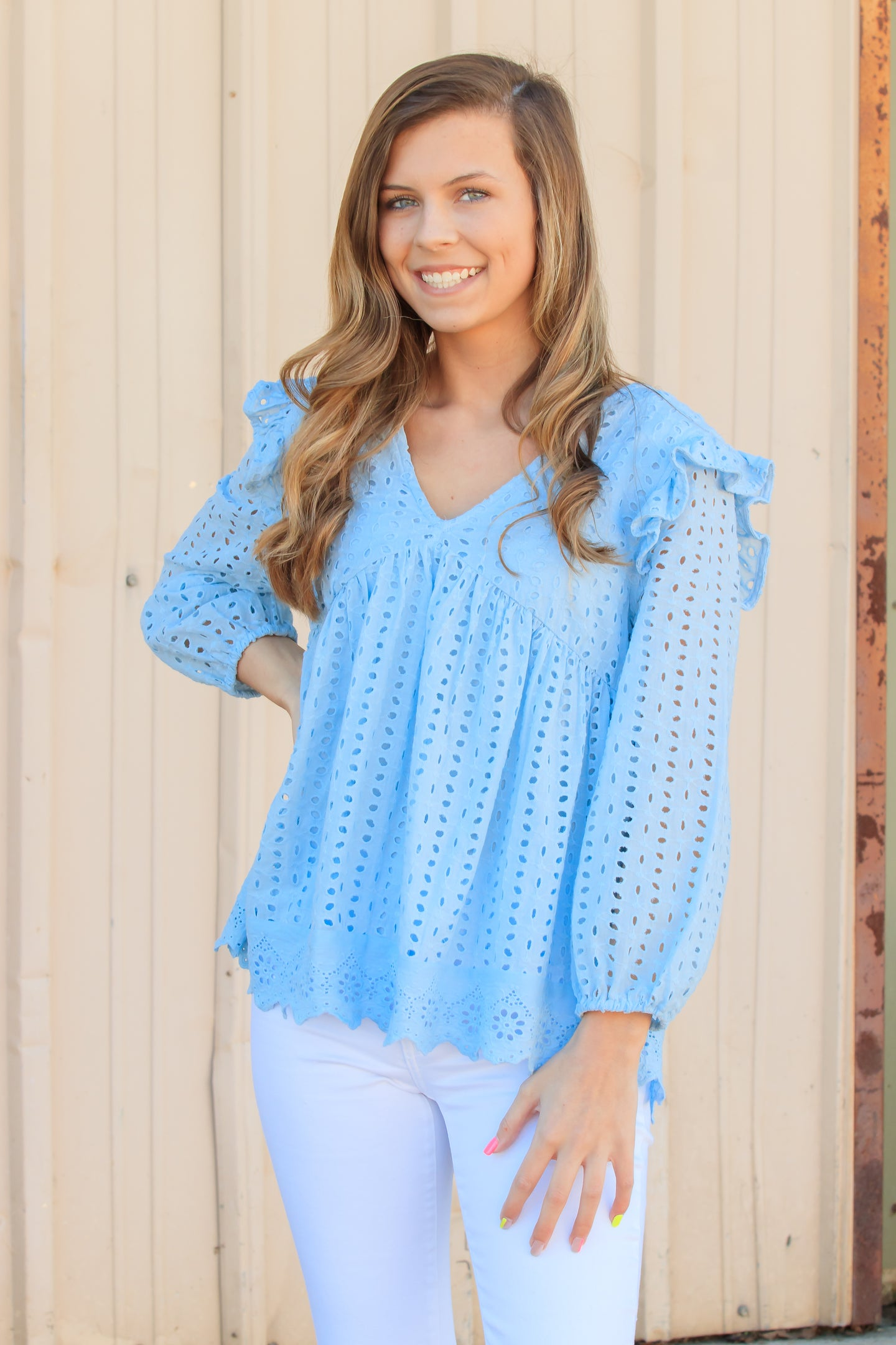 Ella Eyelet Top - Baby Blue