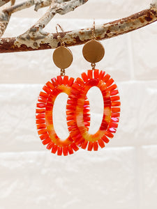 Faceted Beaded Oval Drop Earrings - Coral