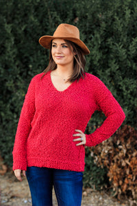 Penelope Popcorn Sweater - Red - ellies-clothing-boutique
