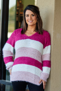 Serafina Stripe Sweater - Pink - ellies-clothing-boutique