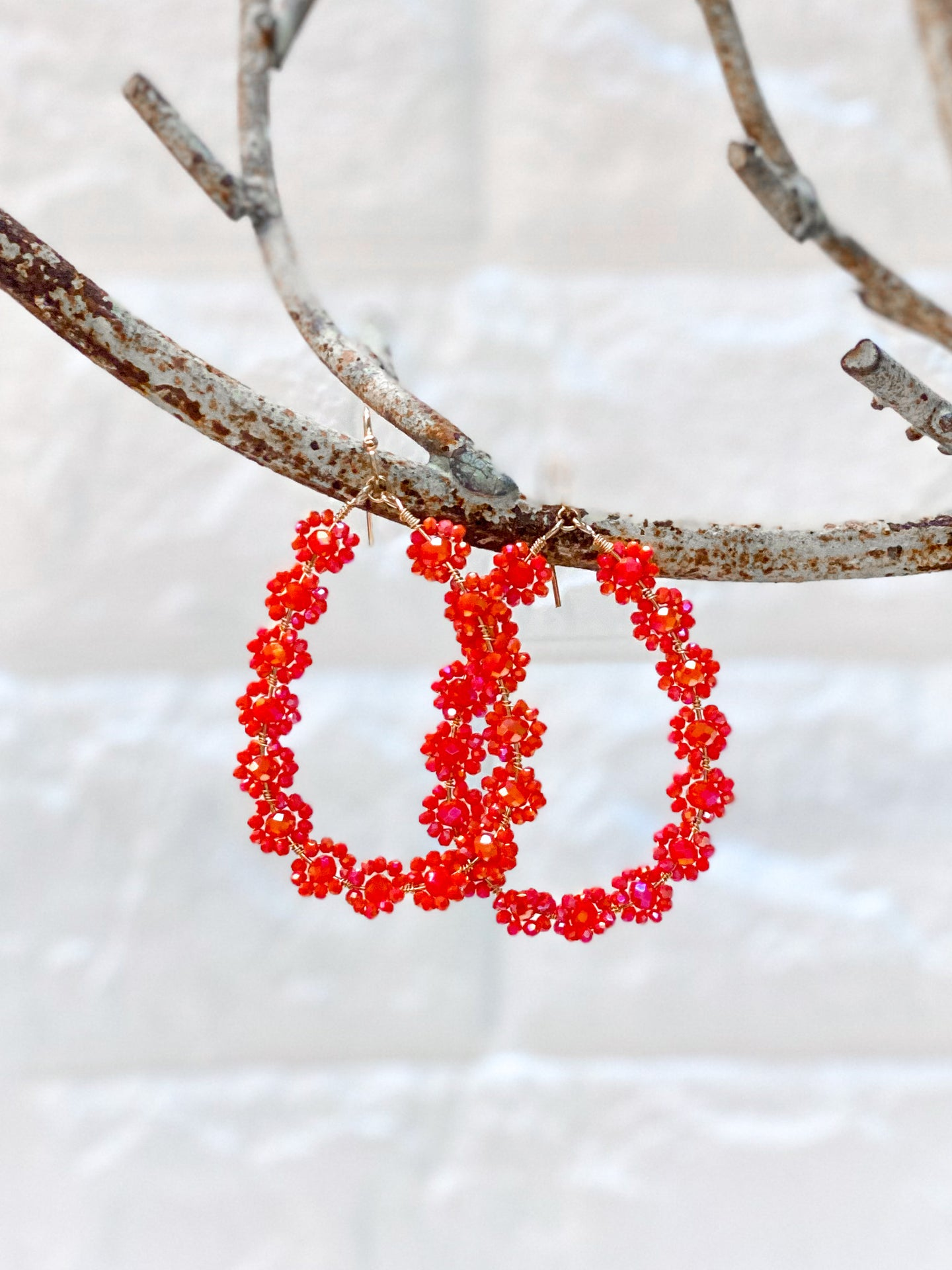 Sequin Flower Earrings - Red/Orange