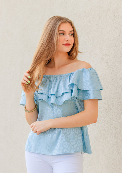 Jayne Off Shoulder Satin Top - Blue Mint