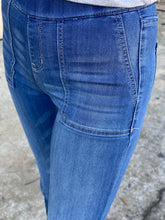 Load image into Gallery viewer, Faye Pull-On Flares with Surplus Pocket - Medium Wash Denim