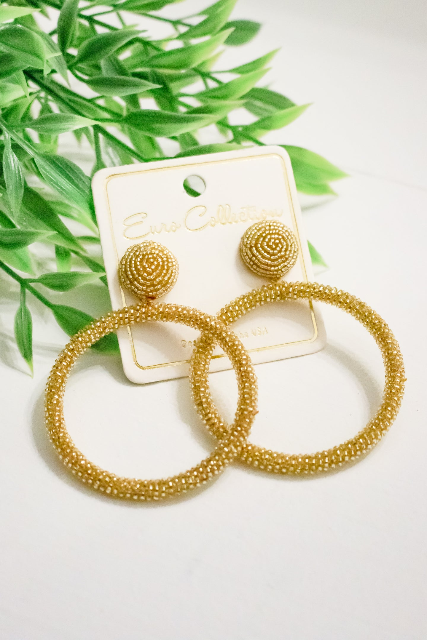 Beaded Statement Earrings - Gold