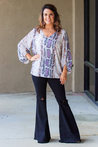 Sawyer Snake Print Top - Purple Mix