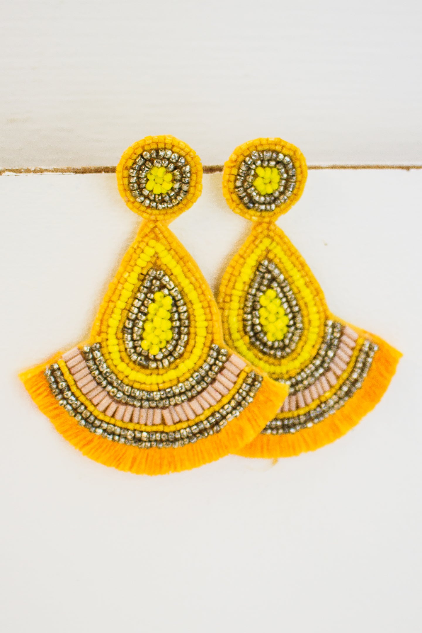 Teardrop Fringe Earrings-Yellow